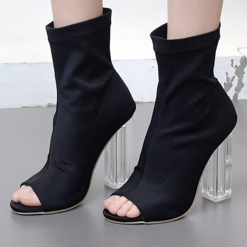 Black Stretch Fabric Peep Toe Clear See through Heel Ankle Boots