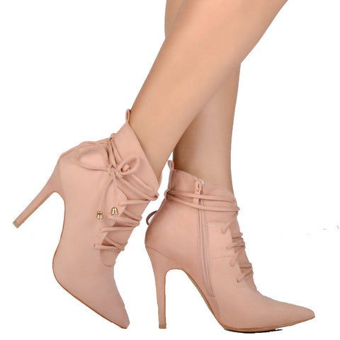 Pink Flock Lace-up Ankle High Boot