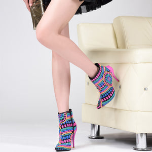 Pink and Blue Desinger Stiletto Ankle Boots