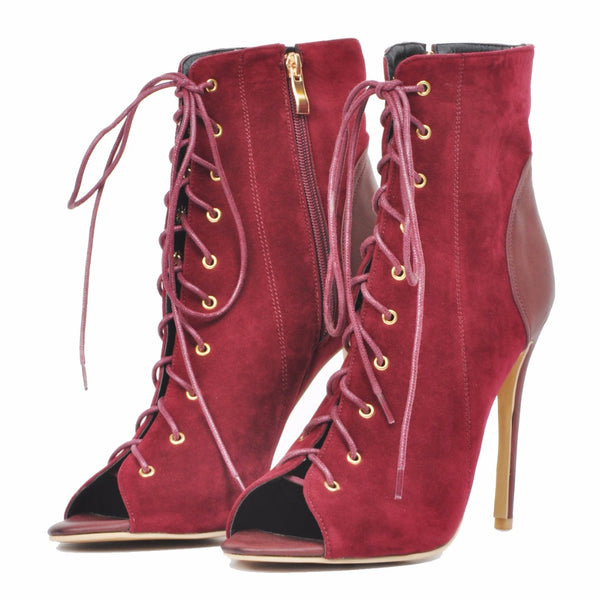 Red Ankle High Stiletto Boot Lace Up Peep Toe