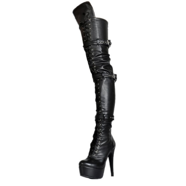 Black Leather Thigh High Over The Knee Platform Lace Up With Buckle (Plus Size)