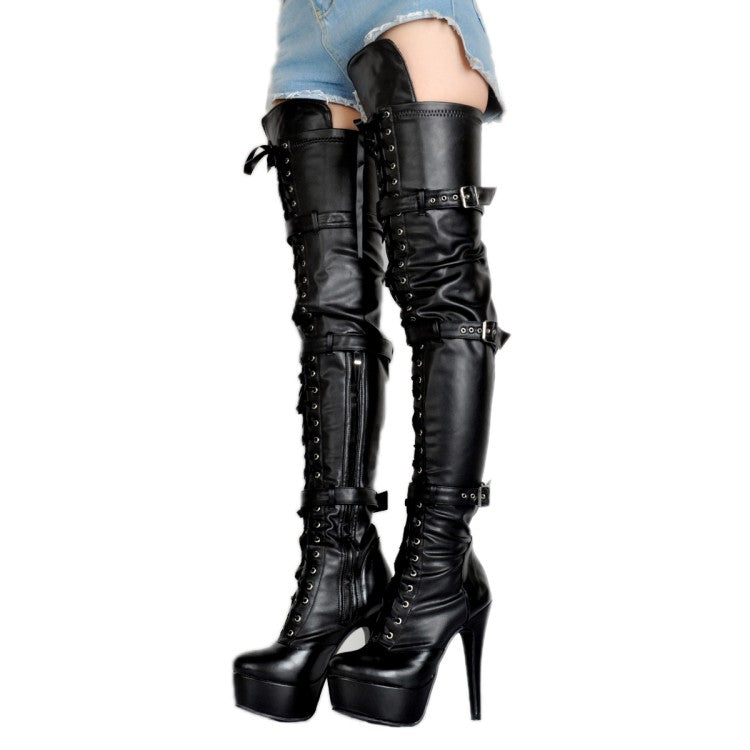 Black Leather Thigh High Over The Knee Platform Lace Up With Buckle