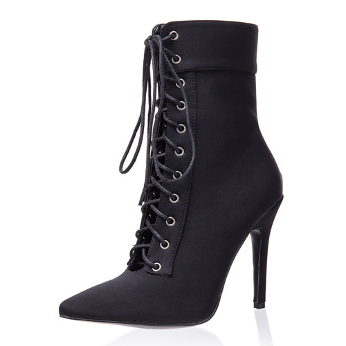 Black  Suede Stiletto boot Ankle High Lace Up