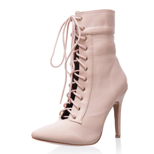 white high heel boot