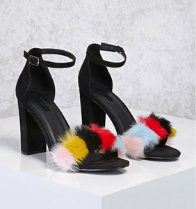 Colorful Suede Feather Furry Open-Toe Buckle Strap Square Heel