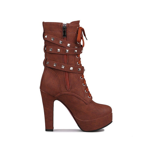 Brown Ankle Boot Rivet Buckle Strap Lace Up Square Heel