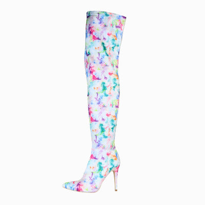 White Stiletto Thigh High Over-The-Knee Stretch Fabric Boot