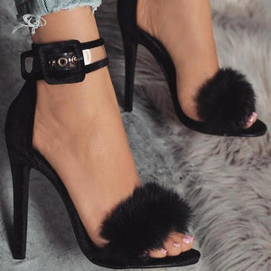 Black Clear See through Buckle Strap Suede Furry Feather Open-Toe Stiletto Heel