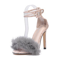 Snake Skin Clear See through Buckle Strap Suede Furry Feather Open-Toe Stiletto Heel