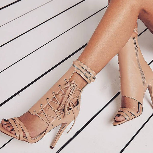 Apricot Peep Toe Gladiator Lace Up with Buckle Sandal