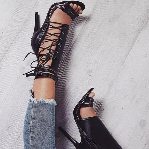 Black Peep Toe Gladiator Lace Up with Buckle Sandal
