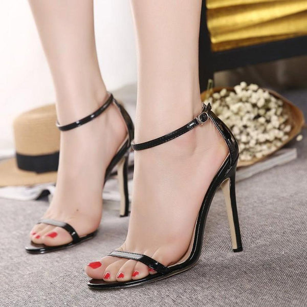 Black Buck up Open Toe Heeled Sandal