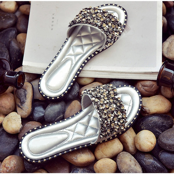 Silver Crystal Rivets Slides | Fashion Woman Footwear