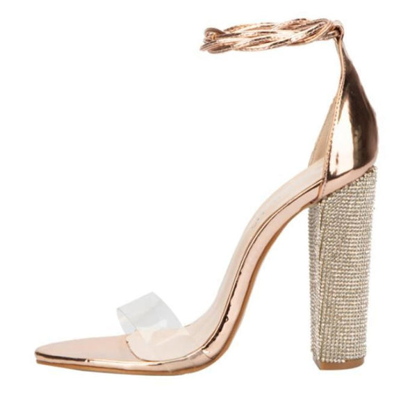 Gold Sandals Bandage Rhinestone Ankle Strap Clear On-Toe Heels