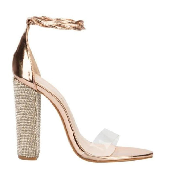 Gold Sandals Bandage Rhinestone Ankle Strap Clear Open Toe Heels