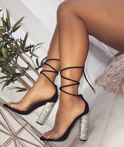 Black Sandals Bandage Rhinestone Ankle Strap Clear On-Toe Heels