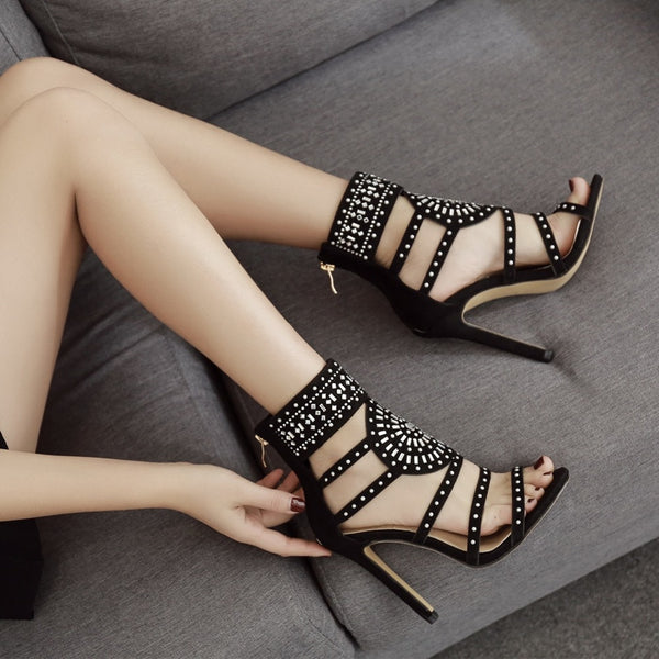 Black Flock Crystal Peep Toe High Heels