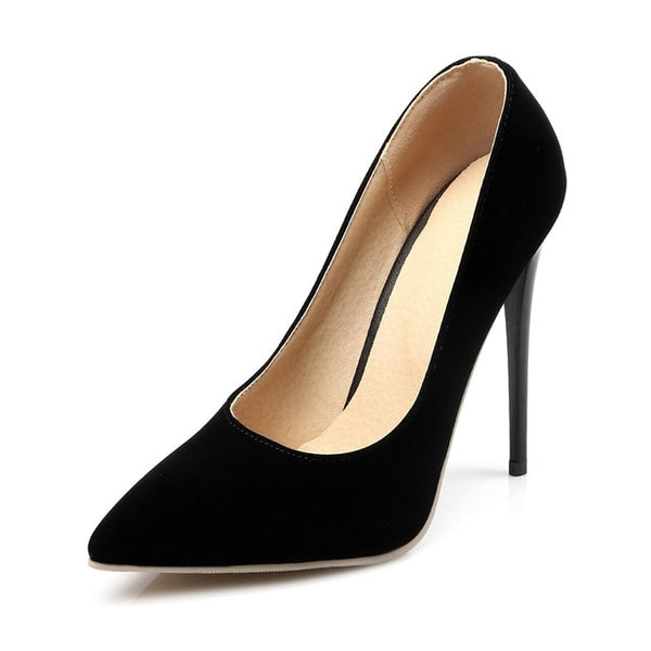 Black Flock Classic Stiletto Pumps