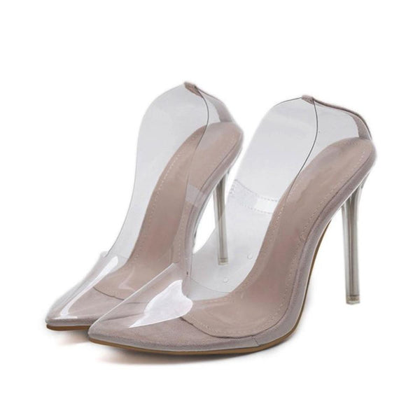 Clear Slip-On Pump Sandals Point Toe Transparent Heel