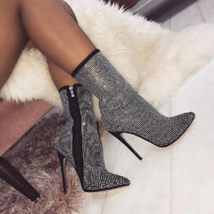 Black Rhinestones Zip Pointed Toe Motorcycle Ankle Boots