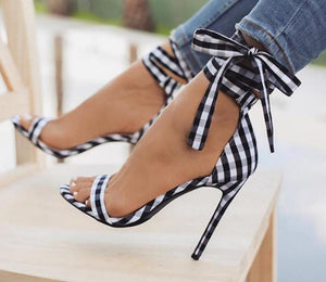 Black Scottish Plaid Sandals Gladiator Ankle Strap Lace Up