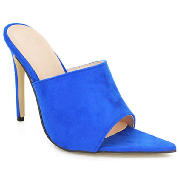 Blue Flock Slippers Peep Toe Pumps