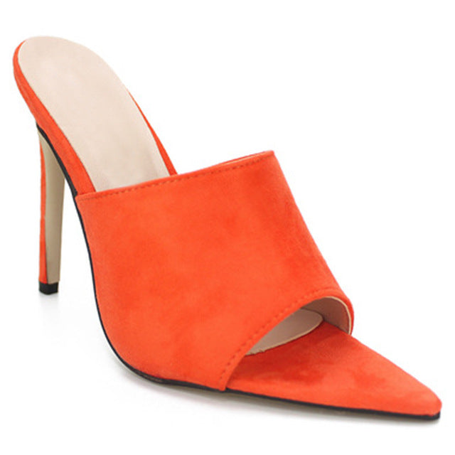 Orange Flock Slippers Peep Toe Pumps
