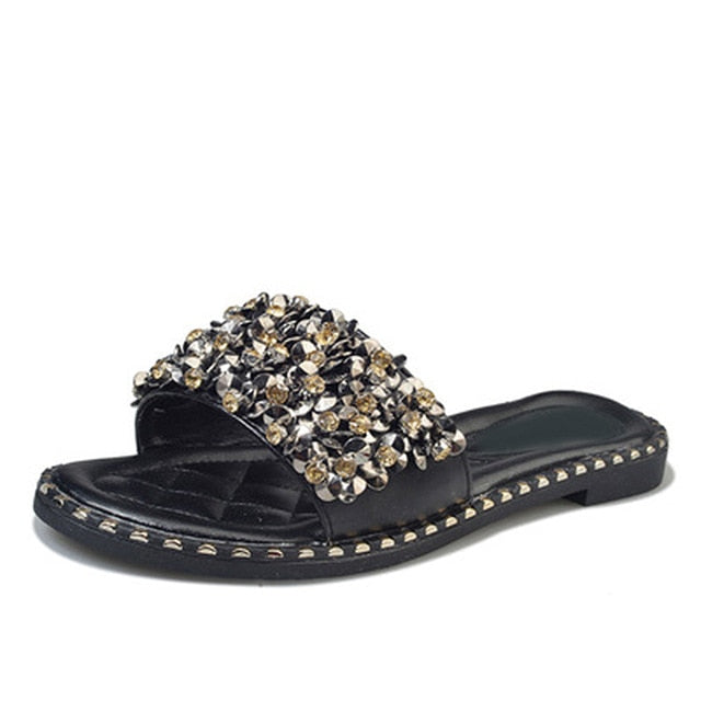 Black Crystal Rivets Slides | Fashion Woman Footwear