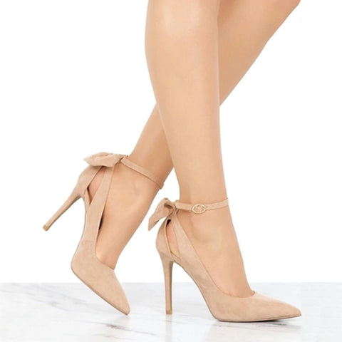 Apricot Pumps with Bow Pointed Toe Buckle Strap