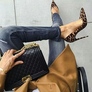 Leopard Print Pumps Flock Stilettos