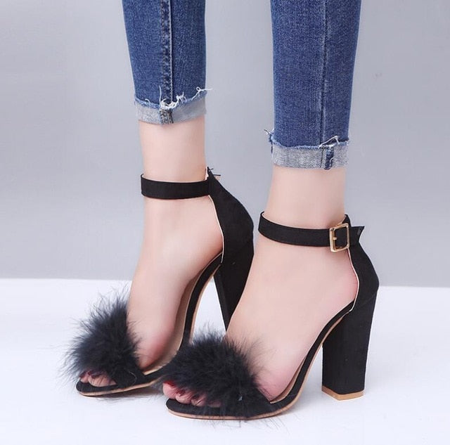 Black Buckle Strap Suede Furry Feather Open-Toe Stiletto Heel