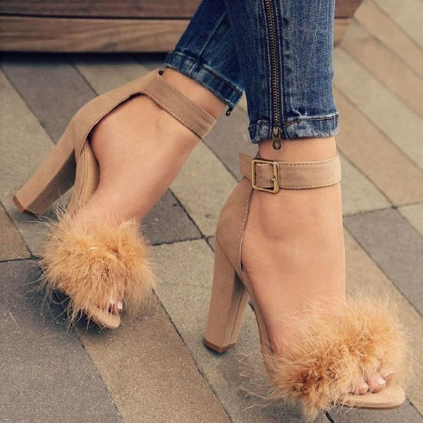 Brown Buckle Strap Suede Furry Feather Open-Toe Stiletto Heel