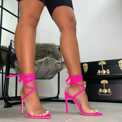 Fluorescent Nylon Pink Cross-tied Lace-up Rome Gladiator Sandal Heels