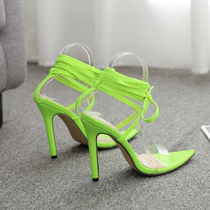 Fluorescent Light Green Cross-tied Lace-up Rome Sandals Heel Stilettos