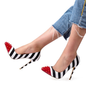 Red Studded High Heel Pump With Zebra Shallow Stripes