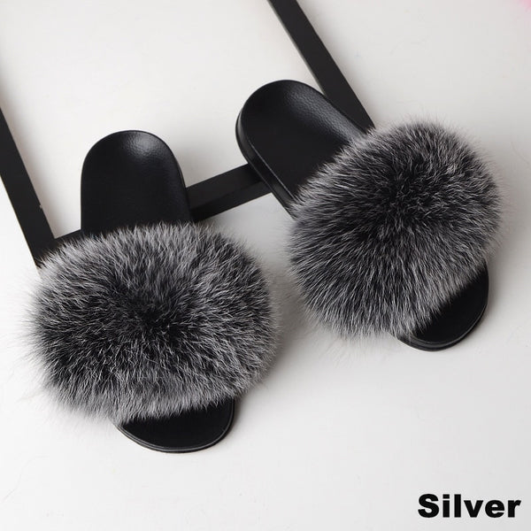 Real Fox Fur Sandal Slides | Open Toe Women's Shoes | Pick Your Favorite Color