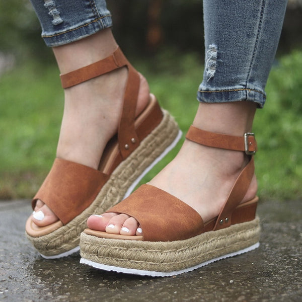Brown Wedge Sandal | Flat Wedge Platform