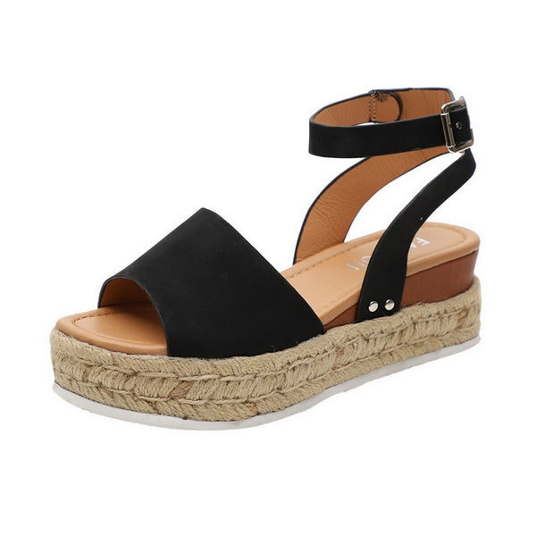 Black Wedge Sandal | Flat Wedge Platform