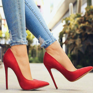 Red Suede Classic Stiletto Pumps
