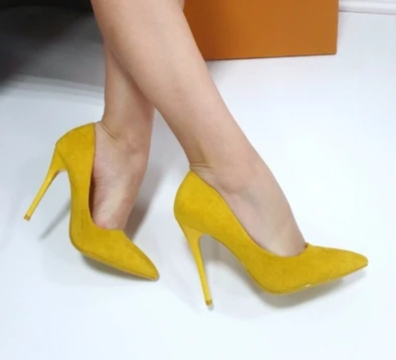 Yellow - Suede Pointed Toe Stiletto Pumps