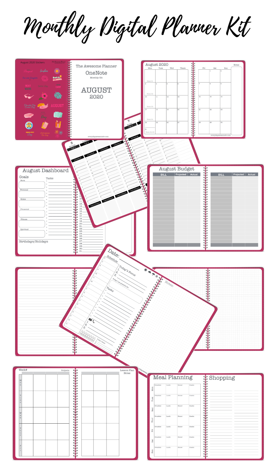 August 2020 Monthly Planner Kit Release