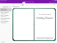 OneNote Holiday Planner - Digital With December Daily - Undated - Green Metallic