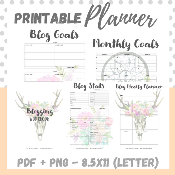 Printable - Blog Planner Workbook - Boho - Letter Size 8.5 x 11