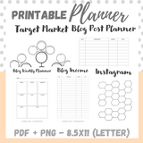 Printable - Blog Planner Workbook - Neutral - Letter Size 8.5 x 11