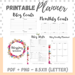 Printable - Blog Planner Workbook - Pink - Letter Size 8.5 x 11