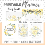 Printable - Blog Planner Workbook - Yellow - Letter Size 8.5 x 11