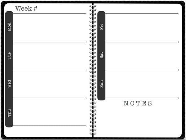 OneNote Undated Horizontal Planner - Black - Digital Planner - The Awesome Planner