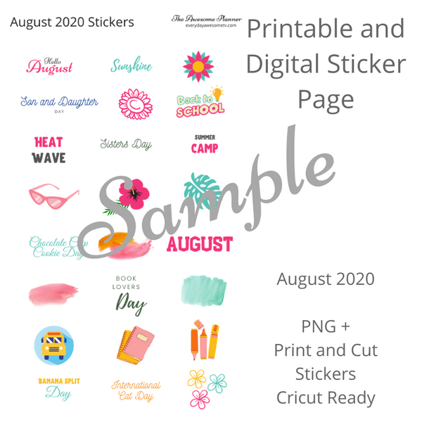 Planner Sticker Bundle - August 2020 - Digital and Cricut Ready