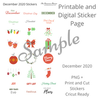 Planner Sticker Bundle - December 2020 - Digital and Cricut Ready