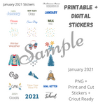 Planner Sticker Bundle - January 2021 - Digital and Cricut Ready